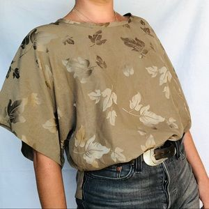 VTG 80s Silk Jacquard Leaf Textured Neutral Blouse
